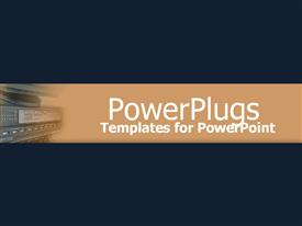 PowerPoint template displaying a plain blue colored background and a middle brown strip