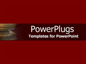 PowerPoint template displaying small depiction of communication equipment surrounded by dark red background