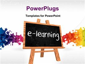 PowerPoint template displaying a blackboard saying e- learning with colorful background