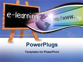 PowerPoint template displaying blackboard on easel with e-learning and internet depiction