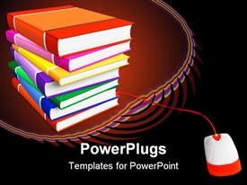 Stack of color books with connected PC mouse template for powerpoint