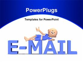 E-mail text in 3D with a cute toon guy on it presentation background