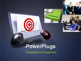 PowerPoint template displaying business target on monitor with mouse on target bulls eye