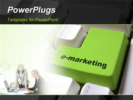 PowerPoint template displaying special button in the background.