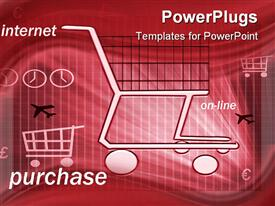 PowerPoint template displaying an abstract of shopping carts a plane and text