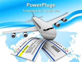 Two e-tickets and an airplane symbolizing air travel template for powerpoint