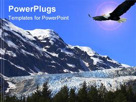 PowerPoint template displaying eagle flying in blue clouds over hills covered with snow