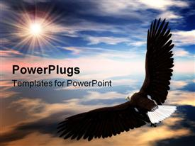 PowerPoint template displaying a black bald eagle soaring high into the sky