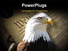 PowerPoint template displaying a hawk with the American constitution in the background