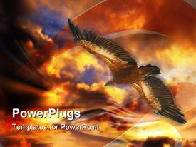 PowerPoint template displaying big eagle flying under a dark and orange cloud