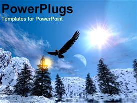 PowerPoint template displaying eagle snowy mountain range in winter skiing snowboarding blue skies