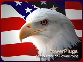 National bird of united States Of America, majestic bald eagle against a Flag background presentation background
