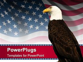 PowerPoint template displaying bald eagle in front of an american flag background