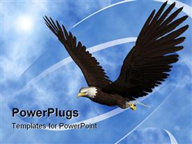 PowerPoint template displaying a beautiful eagle flying in the air with clouds in the background