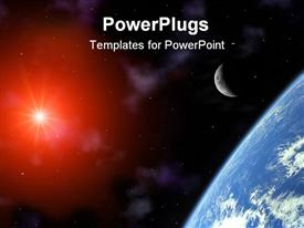 PowerPoint template displaying corner showing a part of Planet Earth with crescent Moon and depiction of Sun in the Universe on black starry sky background