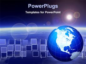 PowerPoint template displaying view from above the earth or similar planet with the sun in view