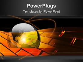 PowerPoint template displaying partial glossy earth sitting over top of a glowing orange organic brick pattern