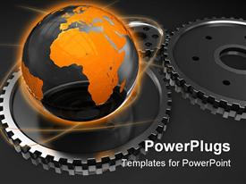 PowerPoint template displaying black and gold globe on gears