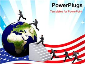 PowerPoint template displaying business man is running towards a 3D earth