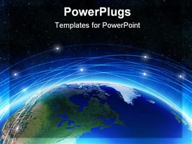 PowerPoint template displaying depiction. Earth on a background of space with blue lines and lights