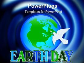 PowerPoint template displaying the representation of Earth and a dove for Earthday