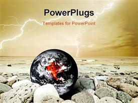 PowerPoint template displaying earth disaster. Global warming risk conceptual