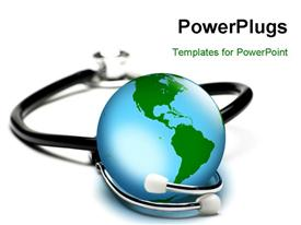 PowerPoint template displaying concept for world health care looking after the planet. . Focus on globe