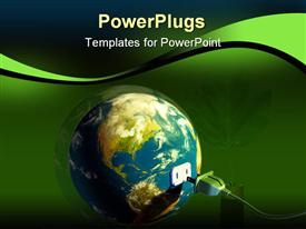 PowerPoint template displaying electrical cord plugging into planet Earth. Digital depiction