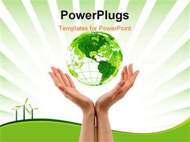 PowerPoint template displaying green eco environment in the women hand in the background.