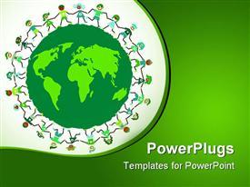 PowerPoint template displaying children holding hands around green globe in green background