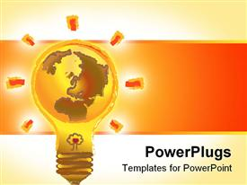 PowerPoint template displaying globe on light bulb base, save the planet