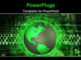 PowerPoint template displaying illustrated green earth over a abstract electronic binary background
