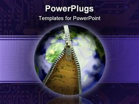 PowerPoint template displaying earth unzipping with electronics underneath in the background.