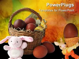 PowerPoint template displaying small basket filled with easter eggs and two easter bunnies