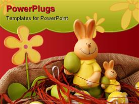 Colorful Easter eggs and two bunnies with a flower presentation background