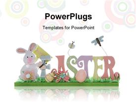 PowerPoint template displaying easter depiction with colorful letters forming EASTER over background with colored circles