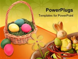 PowerPoint template displaying a brown basket filled with colorful ester eggs and an ester bunny