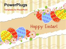 PowerPoint template displaying a number of colorful balloons and the message of happy Easter