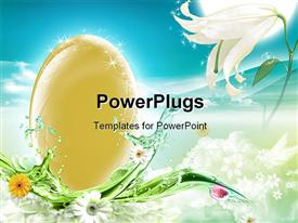 PowerPoint template displaying an egg with a number of flowers and a bluish background
