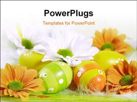 PowerPoint template displaying a number of orange flowers with white background