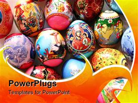 PowerPoint template displaying colored Easter eggs in the background.