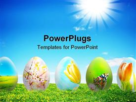 PowerPoint template displaying sunflower field with glow in blue sky with colorful easter eggs