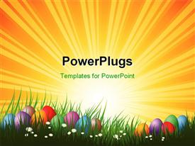PowerPoint template displaying colorful Easter eggs hidden in grass on a sunny day in the background.