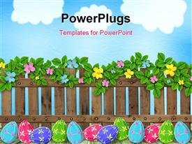 Colorful Easter eggs hidden in grass on a sunny day powerpoint design layout