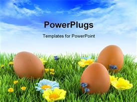 Easter eggs in the grass with flowers powerpoint design layout