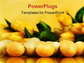 PowerPoint template displaying lots of ester eggs and a bunch of tulip flower