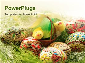 PowerPoint template displaying hand painted Easter eggs in basket close-up in the background.