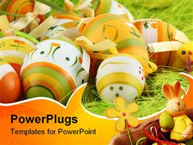 Painted Colorful Easter Eggs on green Grass template for powerpoint