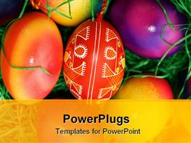 Several colored Easter eggs laying on the green grass powerpoint template