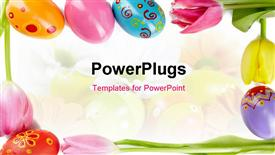 PowerPoint template displaying frame made up of tulips and Easter eggs